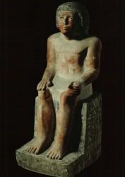 Estatua sedente de Memi Caliza 63,6 cm inv nº 2560 Nicho cámara de culto mastaba D 32 A Guiza din V