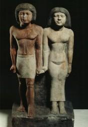Grupo de Ni-Kau-Chnum y esposa Caliza 56,5 cm Serdab Mastaba de Ni-Kau-Chnum Guiza inv nº 3155 din V-VI