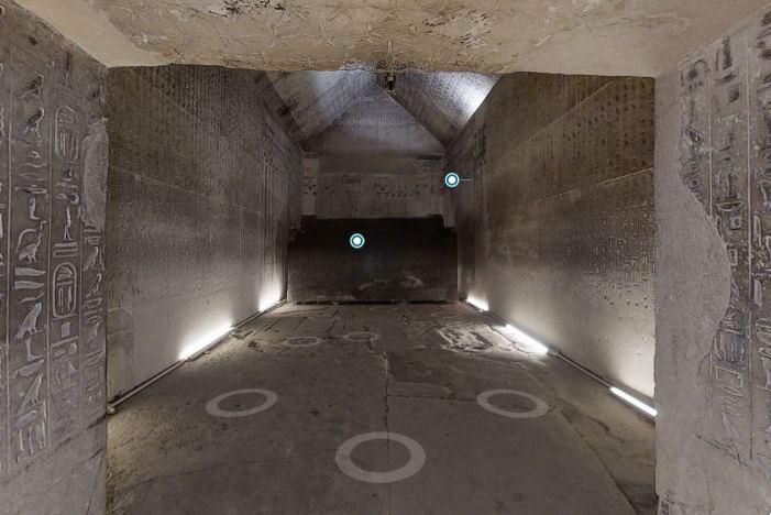 Visita virtual al interior de la pirámide de Unas