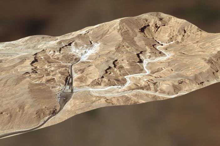 Vista en 3D del Valle de los Reyes y del Valle de los Monos