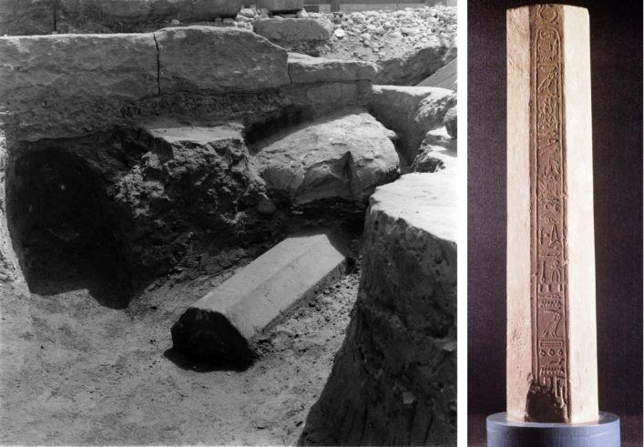 Fouilles dans la cour du Moyen Empire et le temple primitif de Karnak