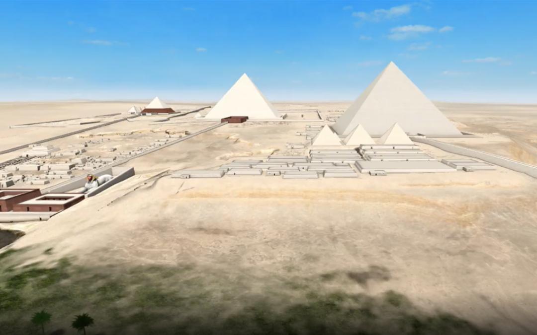 Recrean en 3d la llanura de Giza y las grandes pirámides de egipto